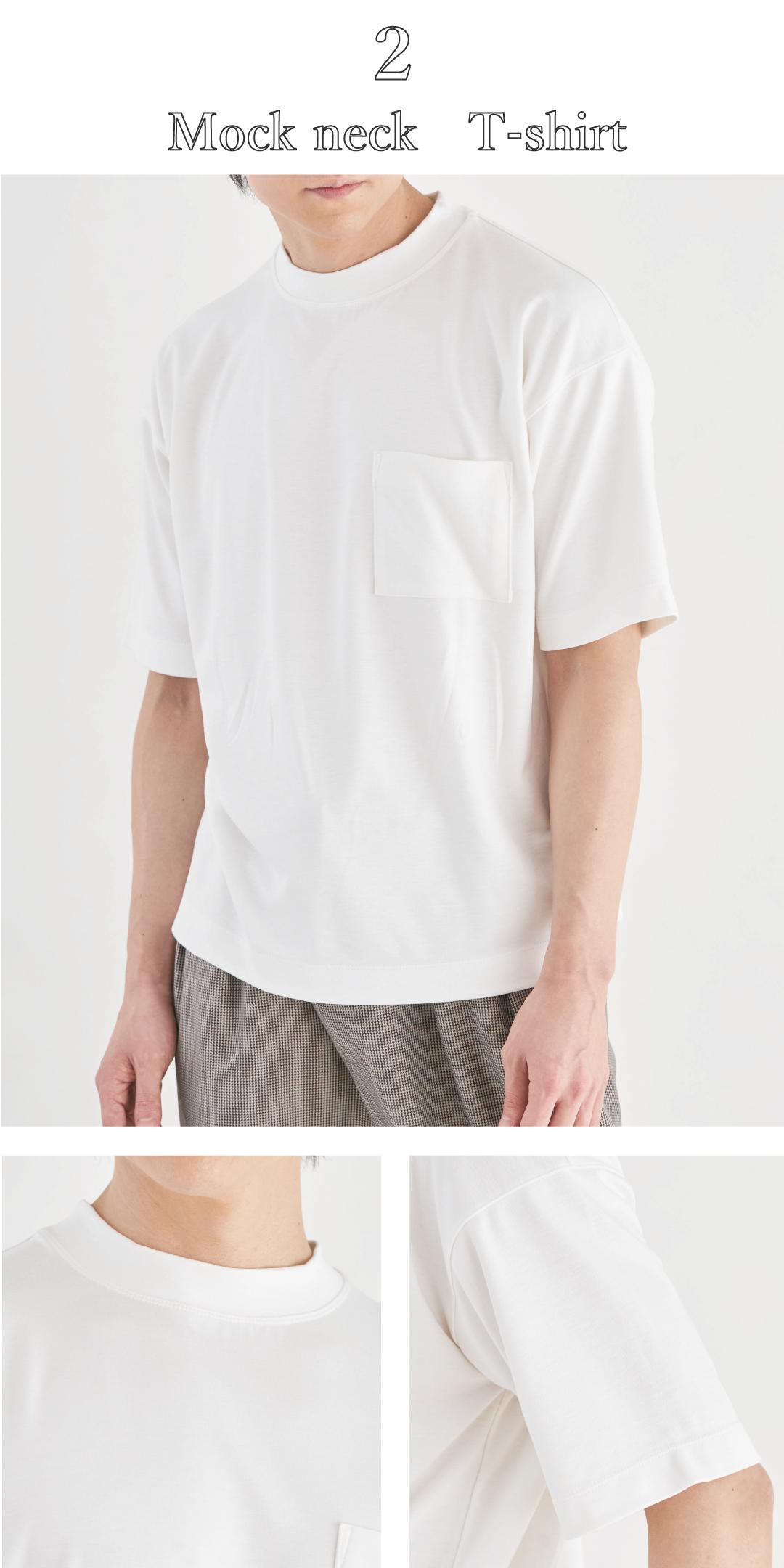デラヴィスポンチ 毛玉 型崩れ 防止 モックネック 白Tシャツ